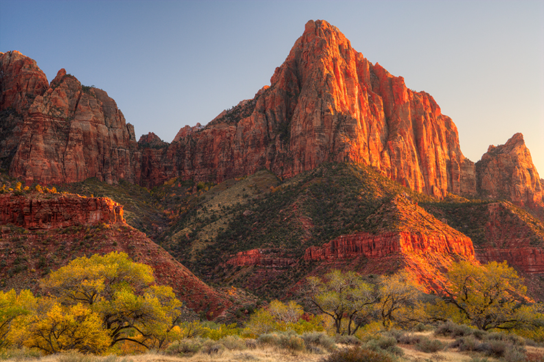 Photo of The Watchman in Zion National Park.