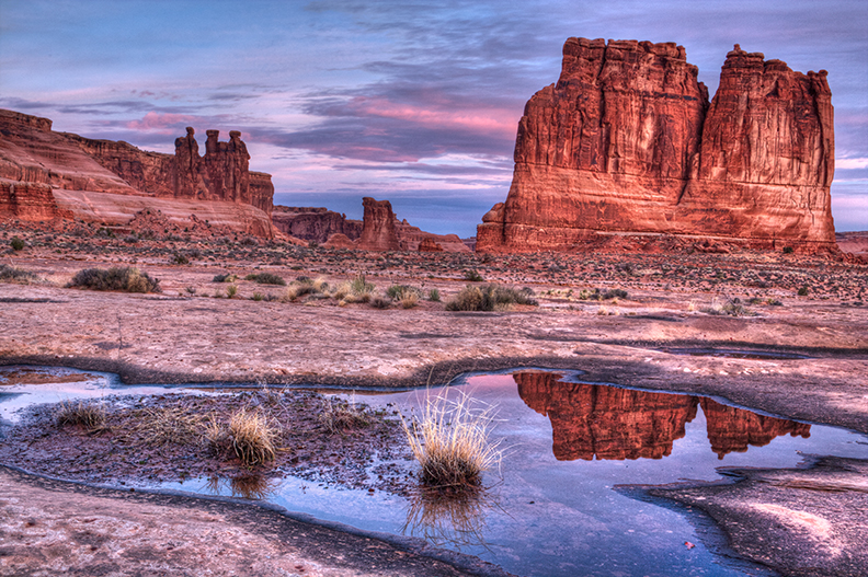 Photo of the Three Gossips in Arches National Park.