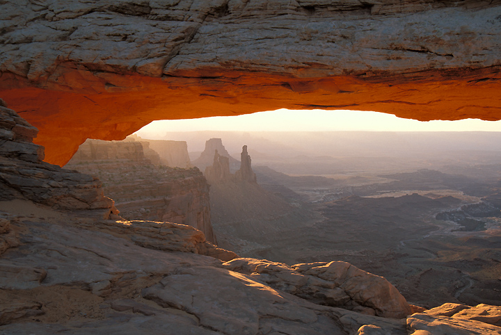 Sunrise photo of Mesa Arch, Island in the Sky District, Canyonlands National Park.
